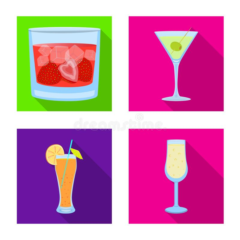 Oggetto isolato del simbolo del ristorante e del liquore Raccolta dell'icona di vettore dell'ingrediente e del liquore per le azi royalty illustrazione gratis