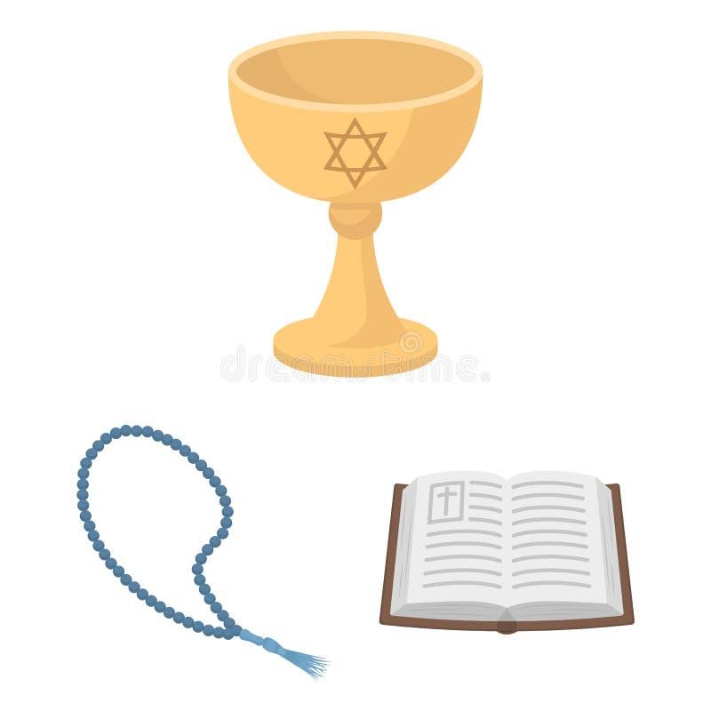Oggetto isolato dell'icona degli oggetti e dei musulmani Raccolta dell'illustrazione di vettore delle azione della candela e dei  illustrazione vettoriale
