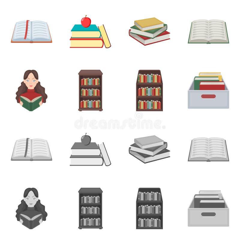 Oggetto isolato dell'icona del manuale e delle biblioteche Metta dell'illustrazione di riserva di vettore della scuola e delle bi illustrazione di stock