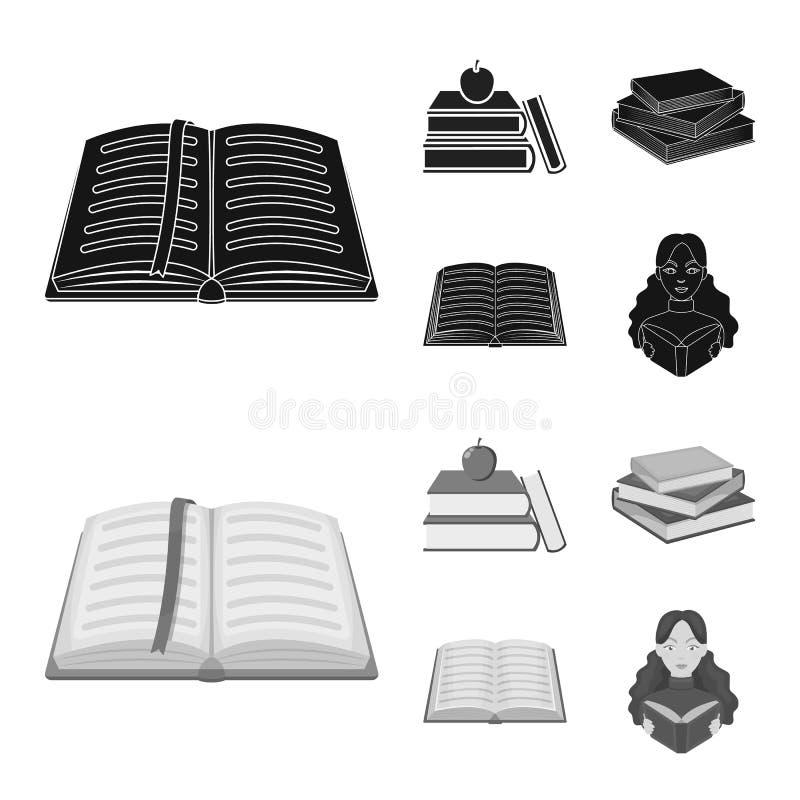 Oggetto isolato dell'icona del manuale e delle biblioteche Raccolta del simbolo di riserva della scuola e delle biblioteche per i illustrazione di stock