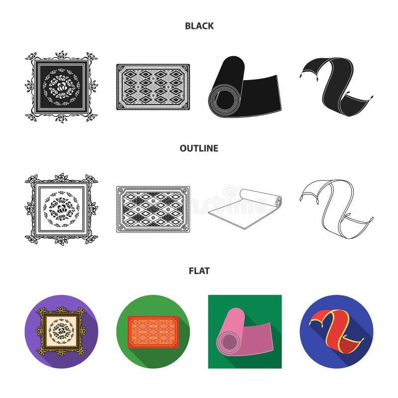 Oggetto isolato dell'icona del persiano e del tappeto Metta dell'icona di vettore del confine e del tappeto per le azione illustrazione di stock