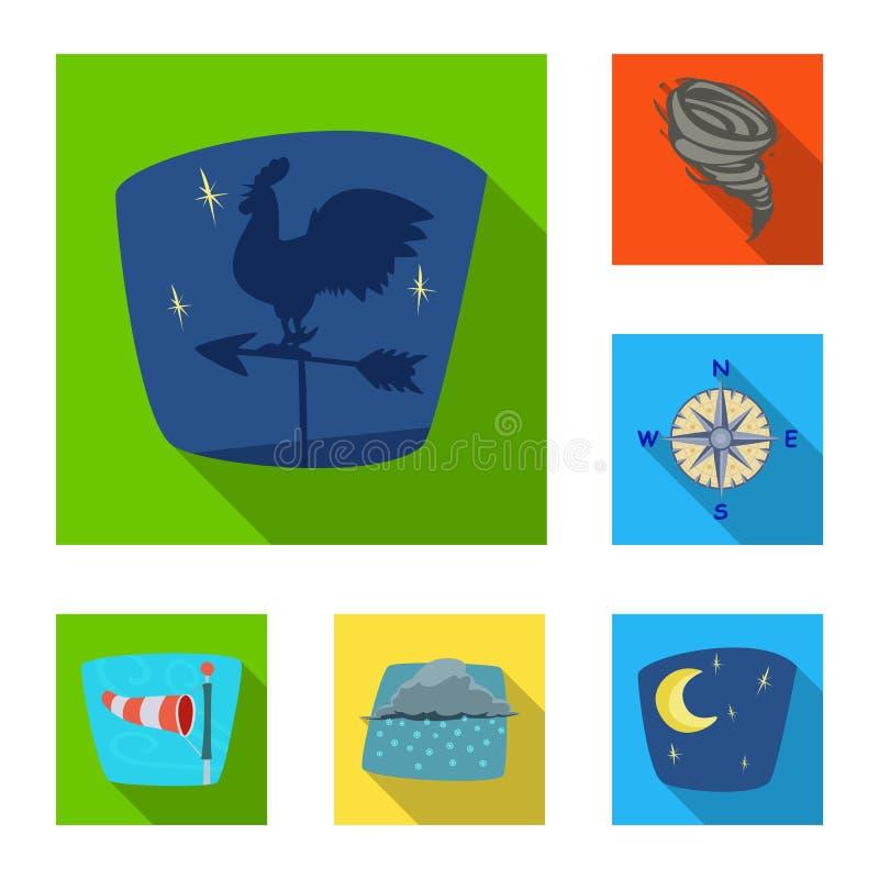Oggetto isolato dell'icona di clima e del tempo Insieme del simbolo di riserva della nuvola e del tempo per il web illustrazione vettoriale