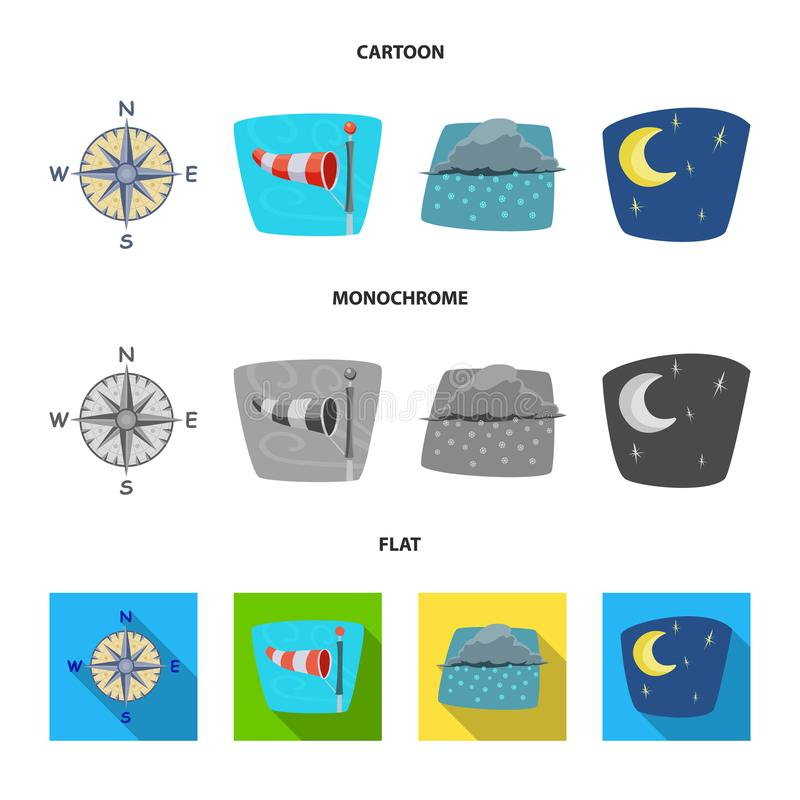 Oggetto isolato dell'icona di clima e del tempo Raccolta dell'icona di vettore della nuvola e del tempo per le azione illustrazione vettoriale