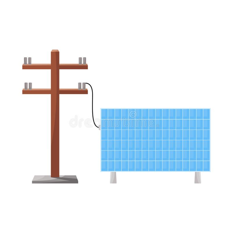 Oggetto isolato della batteria e del logo elettrico Raccolta della batteria e dell'illustrazione di riserva di vettore di industr illustrazione vettoriale