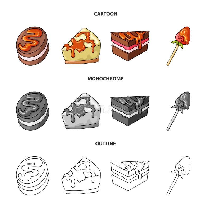 Oggetto isolato della confetteria e del segno culinario Raccolta dell'icona di vettore del prodotto e della confetteria per le az royalty illustrazione gratis