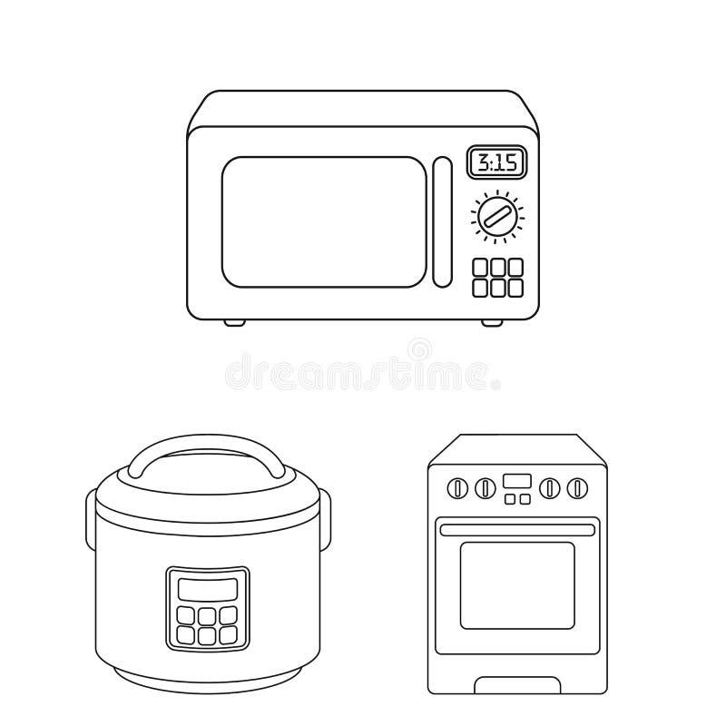 Oggetto isolato di alimento e dentro il segno Raccolta del simbolo di riserva del fornello e dell'alimento per il web illustrazione di stock