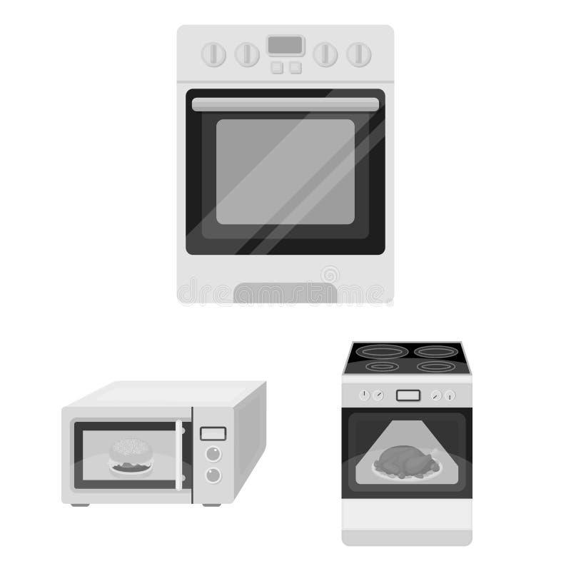 Oggetto isolato di alimento e dentro il simbolo Raccolta dell'icona di vettore del fornello e dell'alimento per le azione illustrazione di stock