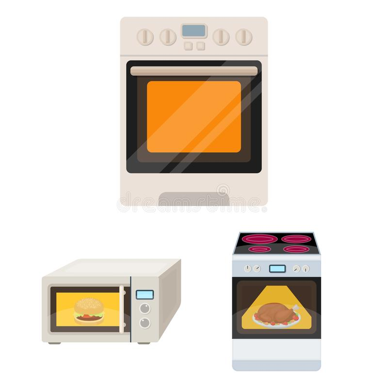 Oggetto isolato di alimento e dentro l'icona Raccolta dell'icona di vettore del fornello e dell'alimento per le azione royalty illustrazione gratis