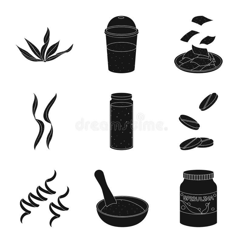 Oggetto isolato di erba e del segno naturale Metta dell'illustrazione di riserva di vettore dell'alga e dell'erba royalty illustrazione gratis