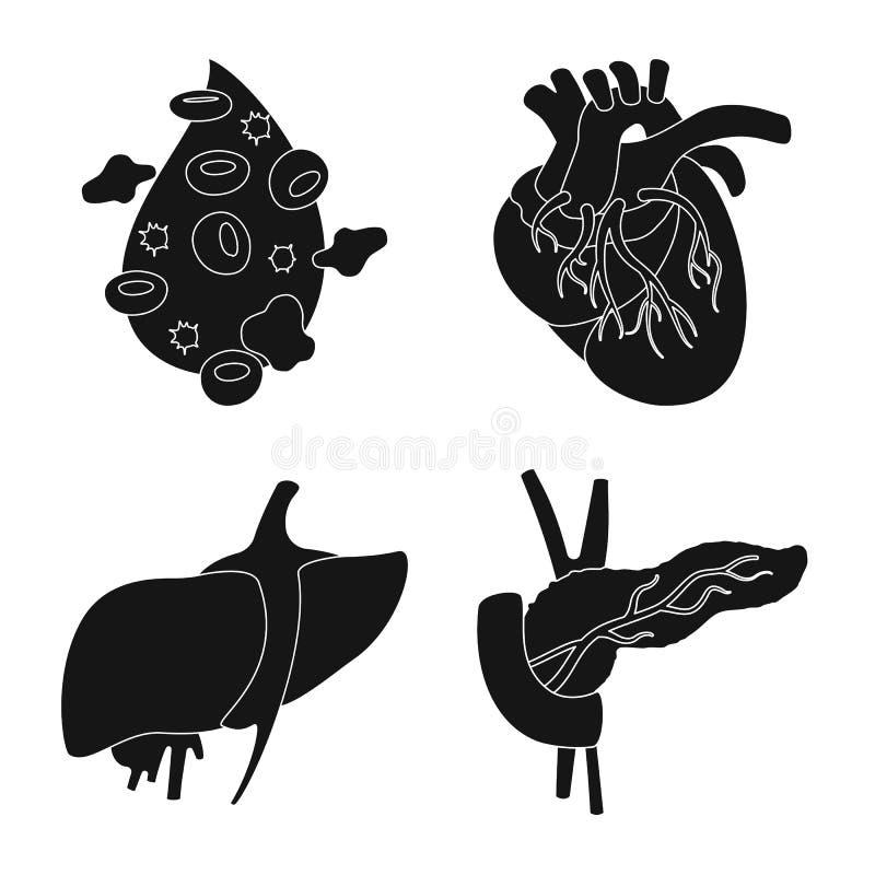 Oggetto isolato di ricerca e del simbolo del laboratorio Raccolta del simbolo di riserva dell'organo e di ricerca per il web royalty illustrazione gratis