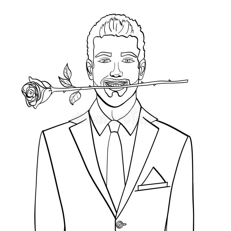 Oggetto isolato sull'uomo bianco del fondo, uomo d'affari con una rosa in suoi denti, vettore Libro da colorare dei bambini royalty illustrazione gratis