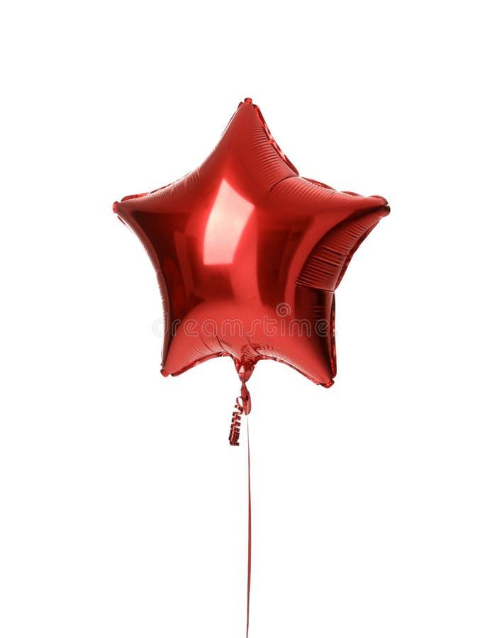 Oggetto metallico del pallone della singola grande stella rossa per il compleanno immagine stock