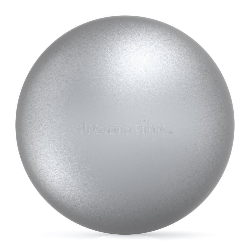 Oggetto metallico opaco di base della palla d'argento bianca rotonda del bottone della sfera illustrazione di stock