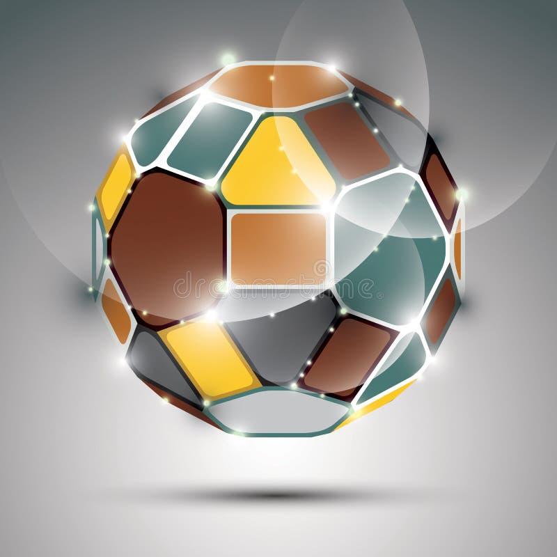 Oggetto sferico scintillante dimensionale Galà astratto di vettore royalty illustrazione gratis