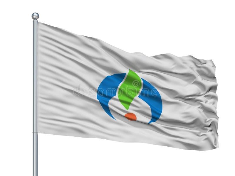 Ogi-Stadt-Flagge auf Fahnenmast, Japan, Saga-Präfektur, lokalisiert auf weißem Hintergrund stock abbildung
