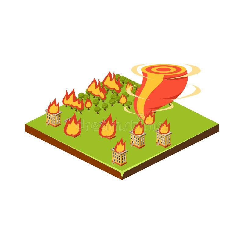 Ogień i tornado Katastrofy Naturalnej ikona również zwrócić corel ilustracji wektora royalty ilustracja