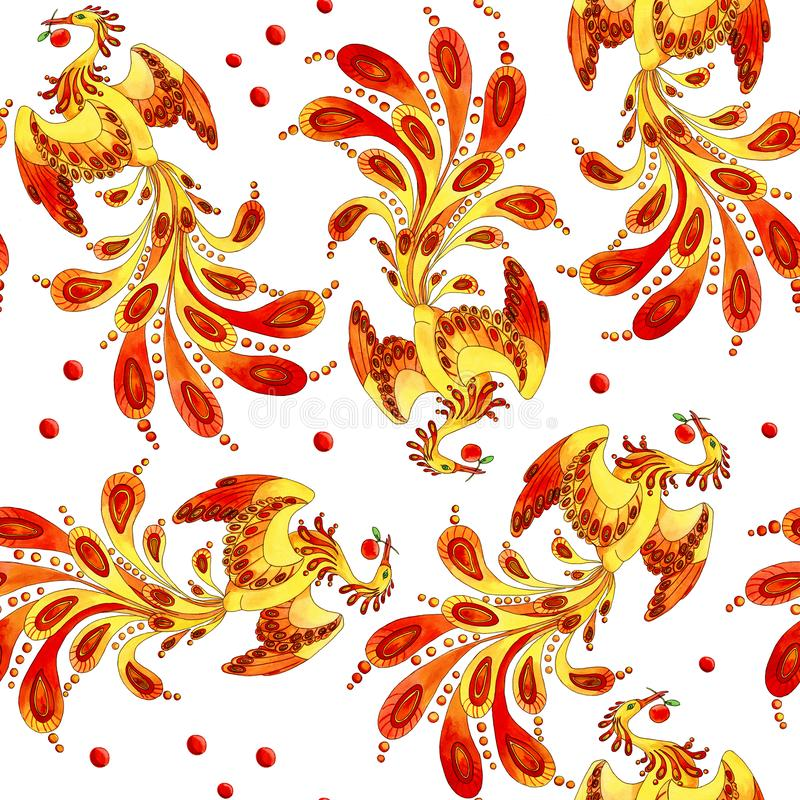 Ogień - ptasi bezszwowy wzór ilustracja wektor