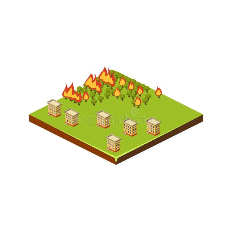 Ogień w Lasowej katastrofy naturalnej ikonie również zwrócić corel ilustracji wektora ilustracja wektor