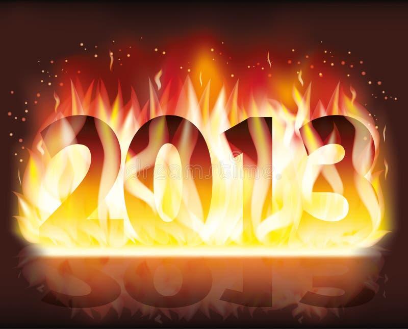 Ogień 2013 Nowy rok sztandar ilustracji