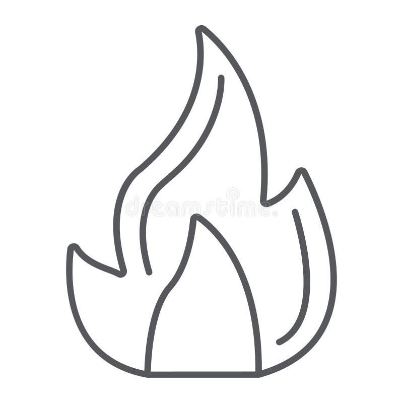 Ogień cienka kreskowa ikona, ognisko i płomień, ognisko znak, wektorowe grafika, liniowy wzór na białym tle royalty ilustracja