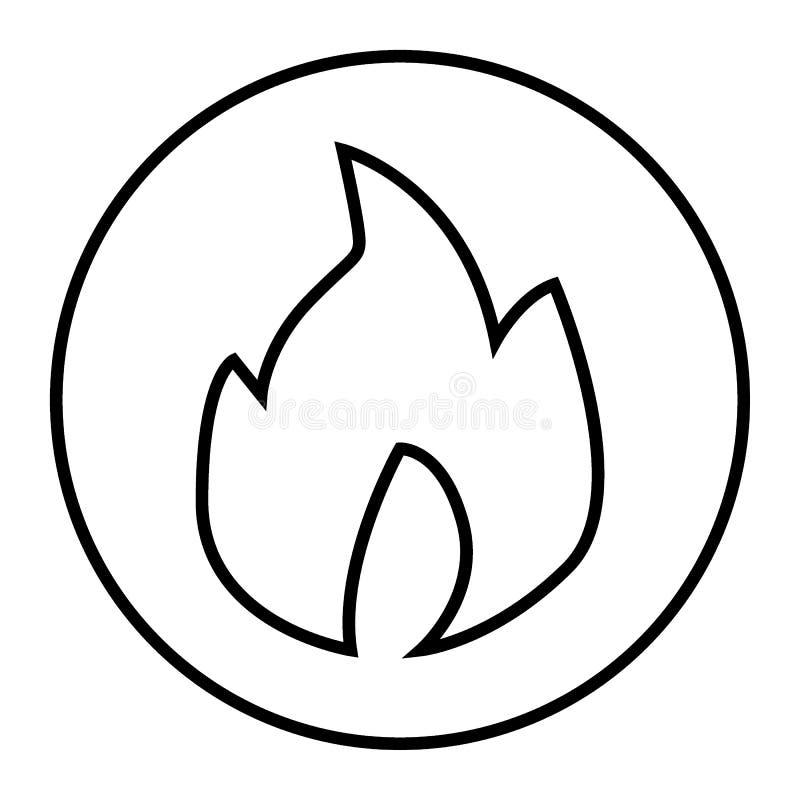 Ogień cienka kreskowa ikona Oparzenie wektorowa ilustracja odizolowywająca na bielu Gorący konturu stylu projekt, projektujący dl ilustracja wektor