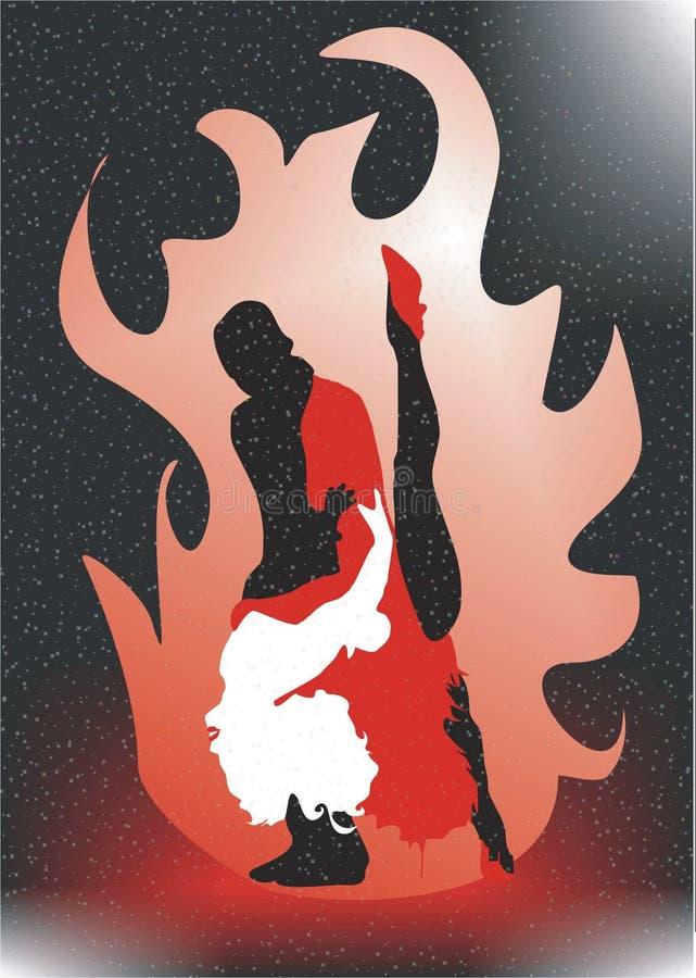 ogień dansing ilustracji