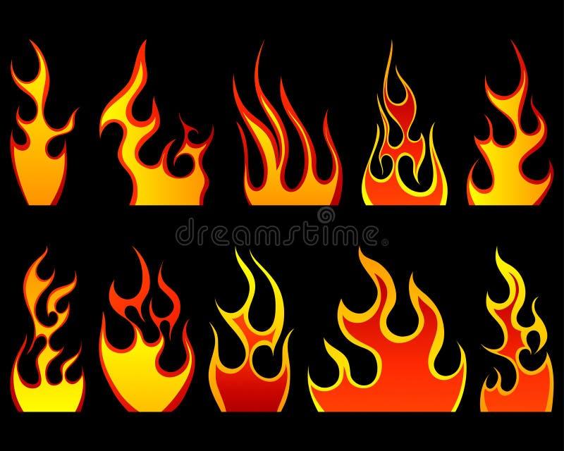 ogień deseniuje set royalty ilustracja