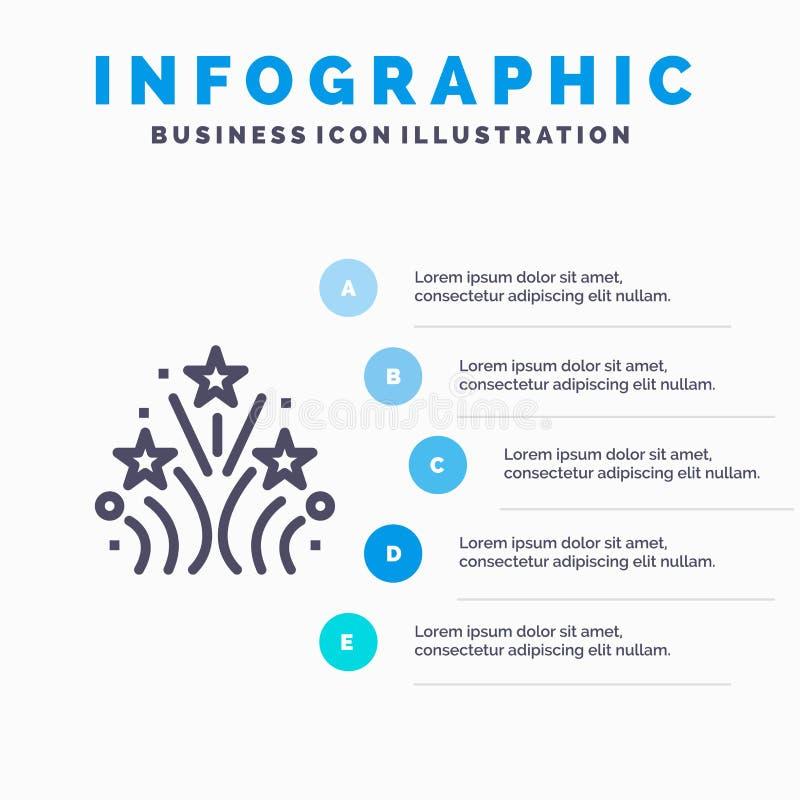 Ogień, fajerwerk, miłość, Poślubia Kreskową ikonę z 5 kroków prezentacji infographics tłem royalty ilustracja