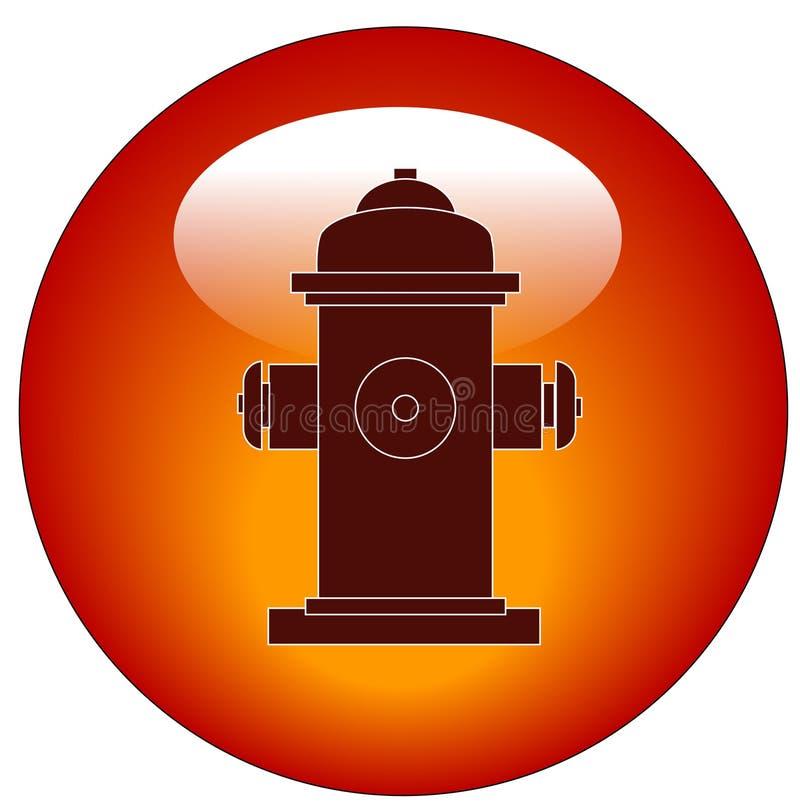 ogień hydranta ikoną przycisk ilustracji
