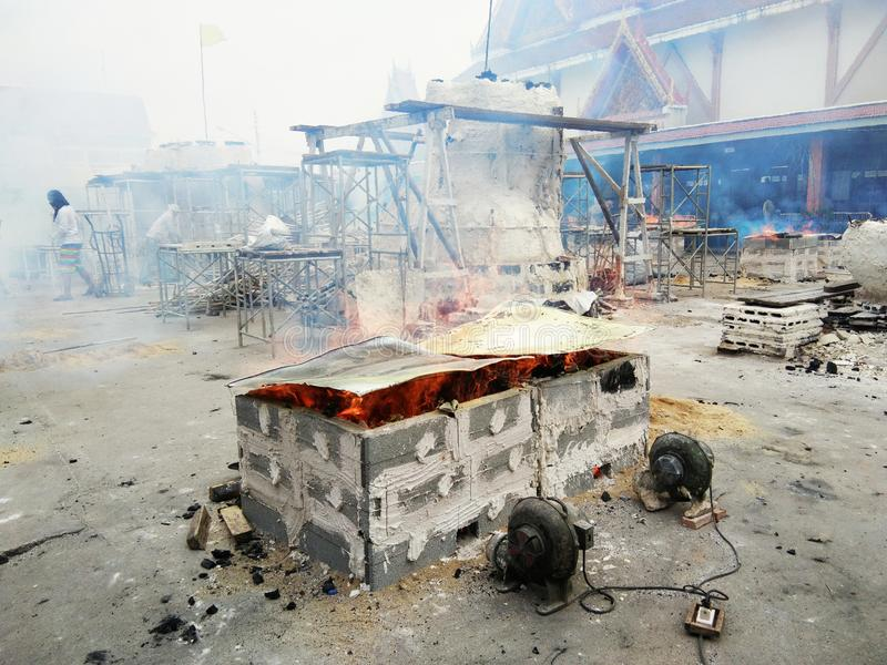 Ogień i płomień na pożarniczym pu fotografia royalty free