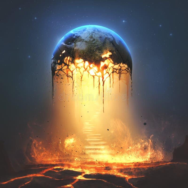 Ogień i schodki od ziemi zdjęcie royalty free