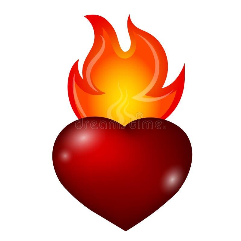 Ogień i serce royalty ilustracja