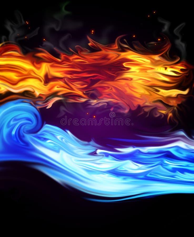 Ogień i Woda ilustracja wektor