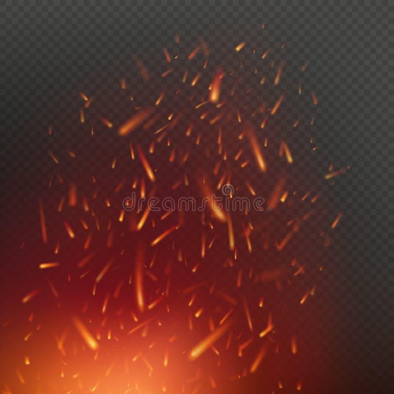 Ogień iskry wykonują latanie z w górę rozjarzonych cząsteczek w powietrzu nad ciemnym przejrzystym tłem 10 eps ilustracja wektor