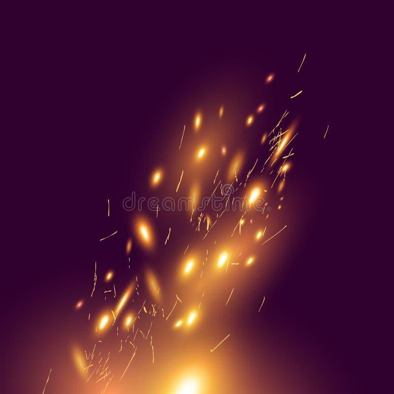 Ogień Iskrzy dmuchanie W wiatrze royalty ilustracja