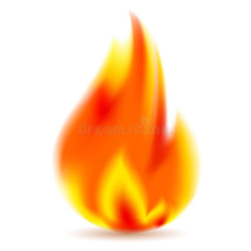 Ogień, jaskrawy płomień na białym tle royalty ilustracja