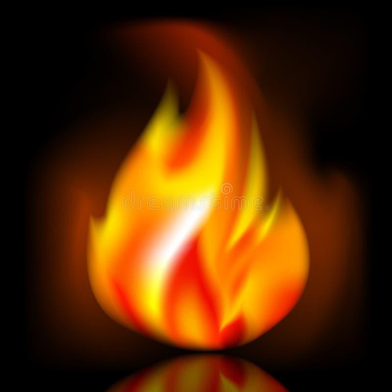 Ogień, jaskrawy płomień na ciemnym tle ilustracja wektor