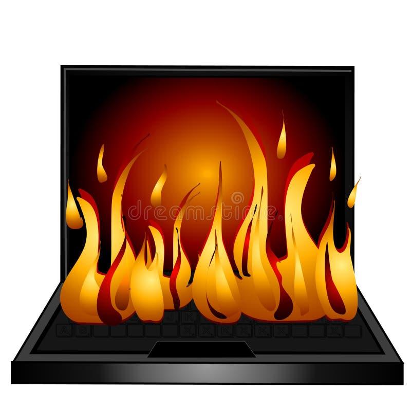 ogień laptopa klawiaturowy komputera ilustracji