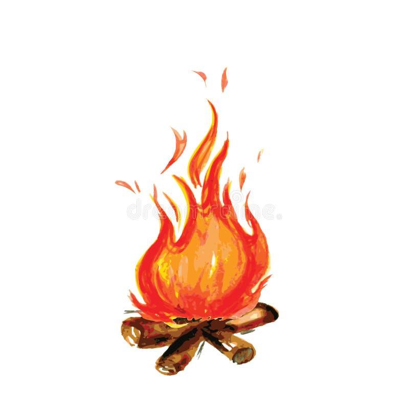 Ogień malujący w akwarela stylu royalty ilustracja