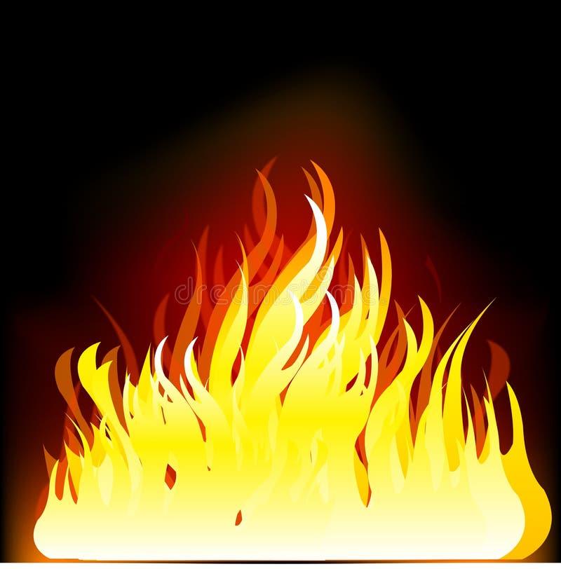 Ogień na czarny tle ilustracji