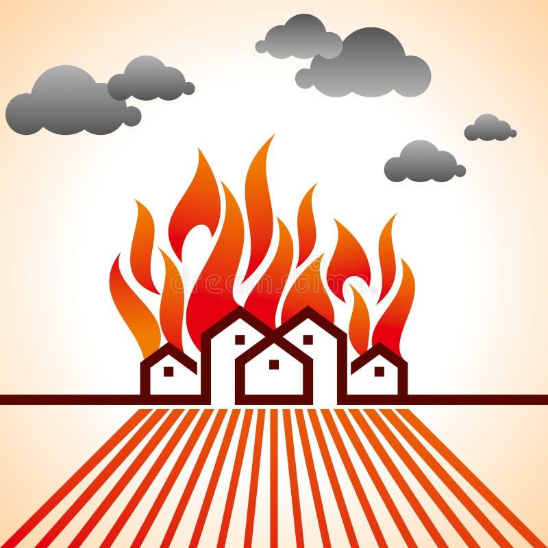 Ogień na mieście z chmurami royalty ilustracja