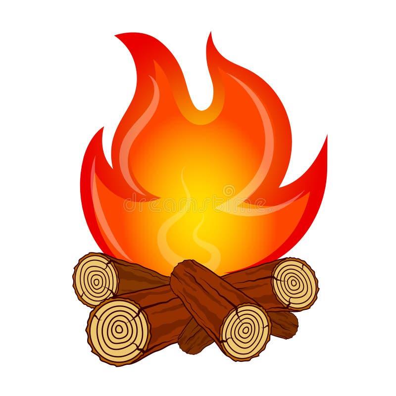 Ogień na pożarniczym drewnianym wektorze royalty ilustracja