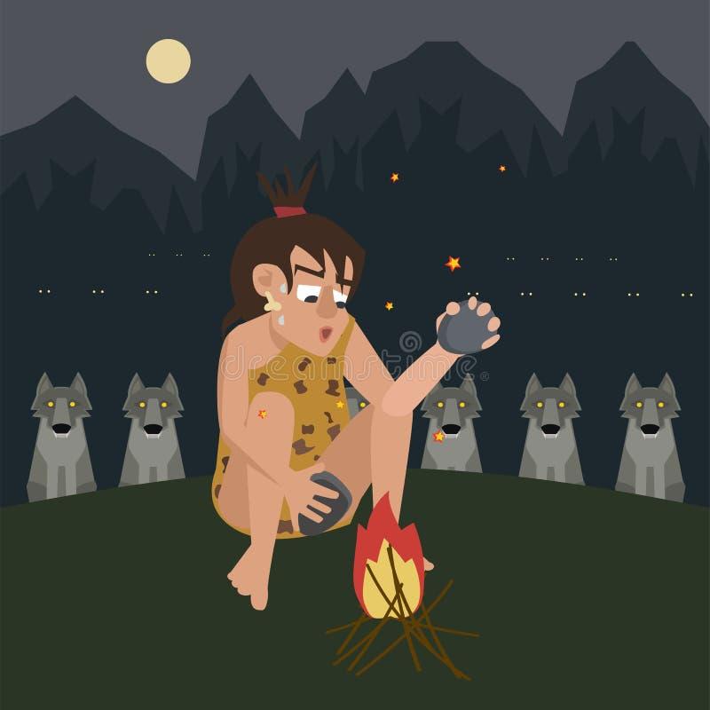 Ogień ochrania caveman od drapieżnika wektoru kreskówki royalty ilustracja