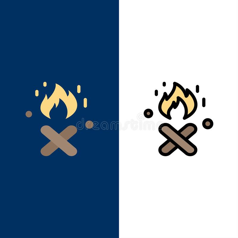 Ogień, ogienia miejsce, Kanada ikony Mieszkanie i linia Wypełniający ikony Ustalony Wektorowy Błękitny tło ilustracja wektor