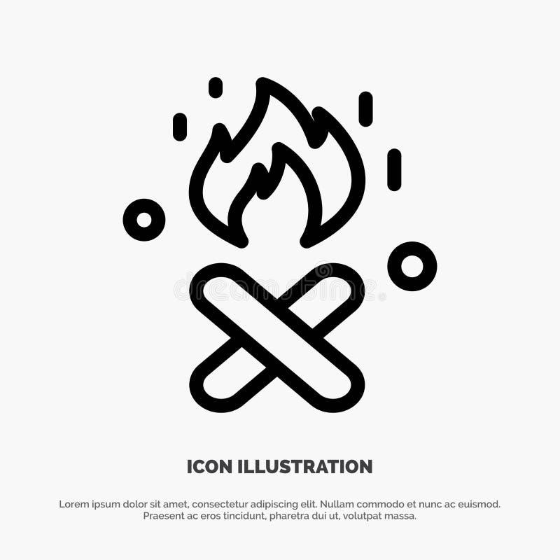 Ogień, ogienia miejsce, Kanada linii ikony wektor royalty ilustracja