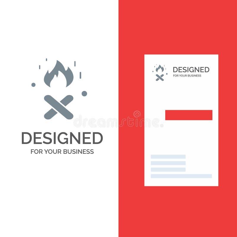 Ogień, ogienia miejsce Kanada logo Popielaty projekt i wizytówka szablon, royalty ilustracja