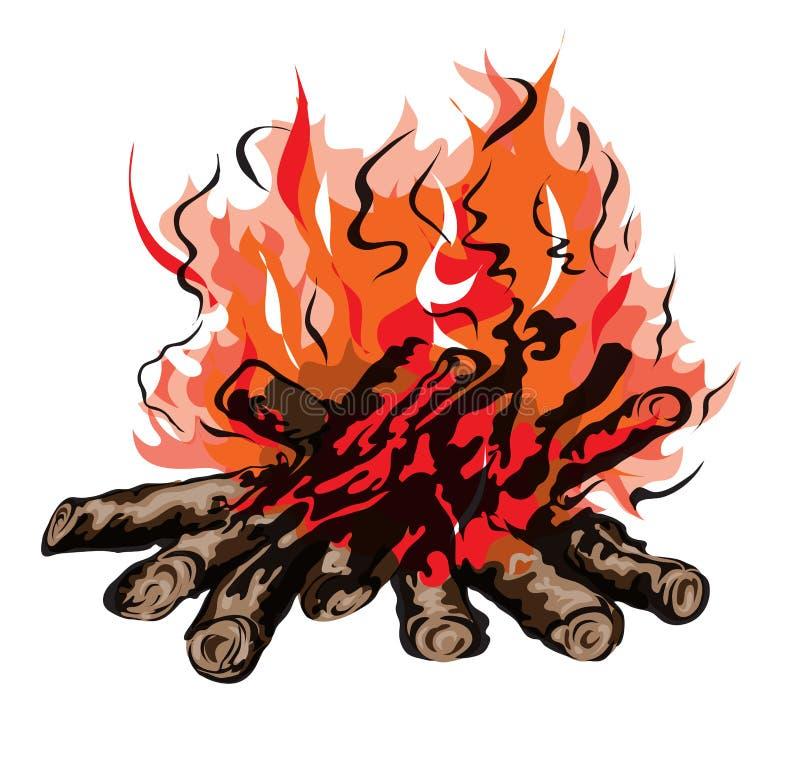 Ogień ognisko z firewoodÂŒ royalty ilustracja