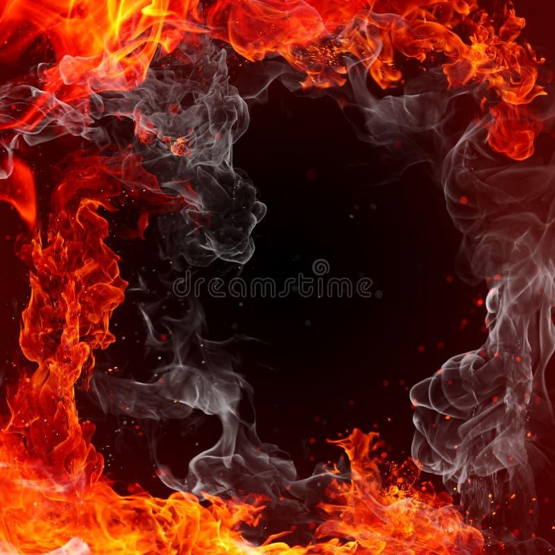 Ogień - ognisty tło - czerwieni płomienie, iskry i dym, ilustracji