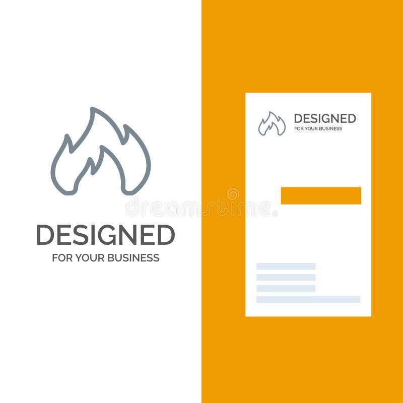 Ogień, ogrzewanie, graba, iskra logo Popielaty projekt i wizytówka szablon, ilustracja wektor