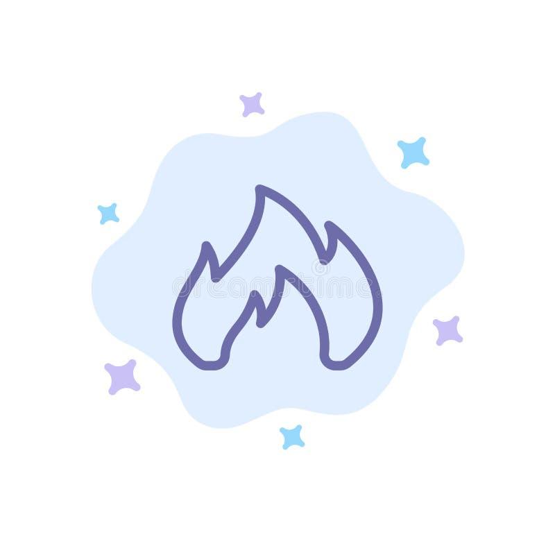 Ogień, ogrzewanie, graba, Iskrowa Błękitna ikona na abstrakt chmury tle ilustracji